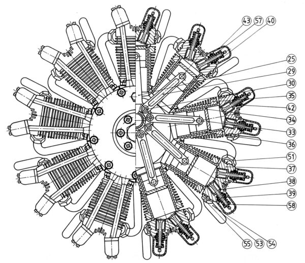 construction plan of the 9 Cylinder Radial Engine