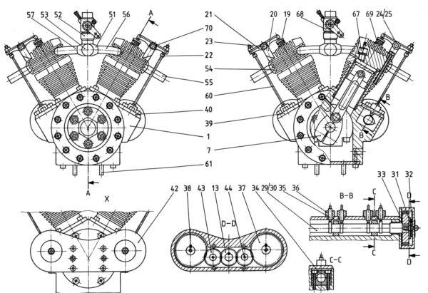 Bauplan für den 12 Zylinder V-Motor