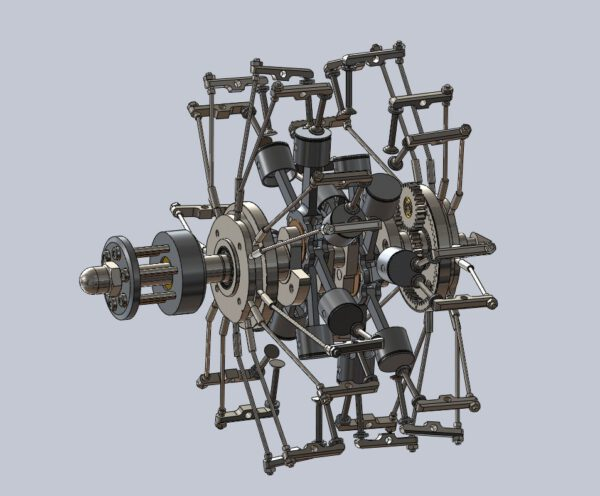 3D view of the 14 Cylinder Double Row Engine