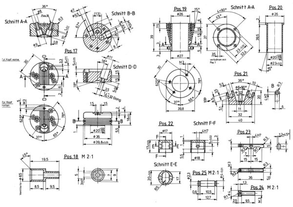 Extract from the building plan of the 14 Cylinder Double Row Engine
